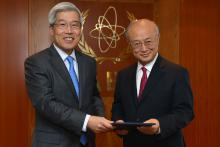 Presentation of credentials by the new Resident Representative of the Republic of Korea, Mr Song Young Wan, to IAEA Director General Yukiya Amano. IAEA, Vienna, Austria, 30 April 2014.
