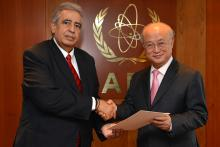 Presentation of credentials by the new Resident Representative of the Republic of Cyprus, Mr Marios Ieronymides, to IAEA Director General Yukiya Amano. IAEA, Vienna, Austria, 21 May 2014.