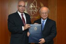 Presentation of credentials by the new Resident Representative of Uruguay, Mr Bruno Javier Faraone Machado, to IAEA Director General Yukiya Amano. IAEA, Vienna, Austria, 16 June 2014.