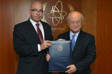 Presentation of credentials by the new Resident Representative of Uruguay, Mr Bruno Javier Faraone Machado, to IAEA Director General Yukiya Amano. IAEA, Vienna, Austria, 16 June 2014.