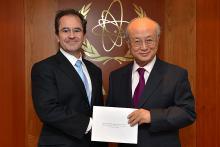 Presentation of credentials by the new Resident Representative of Spain, Mr Gonzalo de Salazar Serantes, to IAEA Director General Yukiya Amano. IAEA, Vienna, Austria, 8 July 2014.