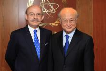 Presentation of credentials by the new Resident Representative of Chile, Mr Armin Ernesto Andereya Latorre to IAEA Director General Yukiya Amano. IAEA, Vienna, Austria, 16 July 2014.