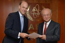 Presentation of credentials by the new Resident Representative of Belgium, Mr Willem Van de Voorde  to IAEA Director General Yukiya Amano. Vienna, Austria, 2 September 2014