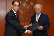 Presentation of credentials by the new Resident Representative of Japan, Mr Mitsuru Kitano, to IAEA Director General Yukiya Amano. Vienna, Austria, 3 September 2014