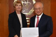 Presentation of credentials by the new Resident Representative of Ireland, Ms Mary Whelan to IAEA Director General Yukiya Amano. Vienna, Austria, 5 September 2014.