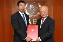 Presentation of credentials by the new Resident Representative of Singapore, Mr Foo Kok Jwee to the IAEA Director General Yukiya Amano. Vienna, Austria, 19 September 2014.