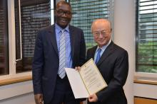 Presentation of credentials by the new Resident Representative of Senegal, Mr El Hadji Abdoul Aziz Ndiaye to the IAEA Director General Yukiya Amano. Vienna, Austria, 26 September 2014.