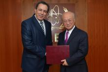Presentation of credentials by the new Resident Representative of Tunisia, Mr Ghazi Jomaa to IAEA Director General Yukiya Amano. Vienna, Austria, 7 November 2014.