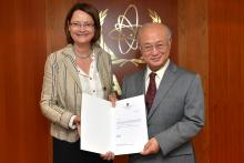 Presentation of credentials by the new Resident Representative of Norway, Ms Bente Angell-Hansen to IAEA Director General Yukiya Amano. Vienna, Austria, 12 November 2014.