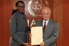 Presentation of credentials by the new Resident Representative of Swaziland, Ms Njabuliso B. Gwebu to IAEA Director General Yukiya Amano. IAEA, Vienna, Austria, 27 November 2014.