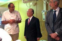 As part of his personal commitment to focus on the IAEA's cancer control work, IAEA Director General Yukiya Amano took the opportunity to review the cancer treatment facilities available to the Monagesque population.  The Director General and Massoud Samiei, Director, IAEA Programme of Action for Cancer Therapy (PACT) (right), reviewed the hospital's radiotherapy and nuclear medicine wings. (Photo: D. Sacchetti/IAEA)