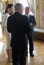 After a meeting with H.S.H. Prince Albert, the IAEA delegation was given a tour of the Prince's Palace of Monaco.  Here IAEA Director General Yukiya Amano and Mrs. Amano have a discussion with Ambassador Claude Giordan. (Photo: D. Sacchetti/IAEA)