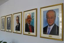At the Monaco laboratories, portraits of IAEA Director General Yukiya Amano and previous Directors General of the IAEA hang in the lobby. (Photo: D. Sacchetti/IAEA)