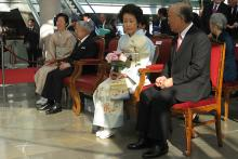 To conclude the trip, IAEA Director General Yukiya Amano and his wife were accompanied by Imperial Highnesses Prince and Princess Hitachi of Japan at the opening of Japanese art exhibition, 'Kyoto-Tokyo: From the Samurai to Mangas' at the Grimaldi Forum in Monaco. (Photo: D.  Sacchetti/IAEA)