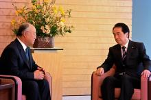 IAEA Director General Yukiya Amano meets Japanese Prime Minister Naoto Kan, Tokyo, 18 March 2011. (Photo: G. Tudor/IAEA)