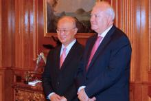The Spanish Foreign Minister, Miguel Angel Moratinos, and IAEA Director General Yukiya Amano following their meeting at the Zarzuela Palace, Madrid, Spain, 29 June 2010. (Photo: Spanish Mission)