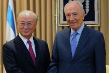 IAEA Director General Yukiya Amano met President Shimon Peres, during his official visit to Israel, 25 August 2010. (Photo: M. Neiman)