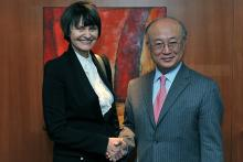 On 11 April 2011, Ms. Micheline Calmy Rey, President of the Swiss Confederation and Head of the Federal Department of Foreign Affairs, met IAEA Director General Yukiya Amano at the Agency's headquarters in Vienna, Austria.