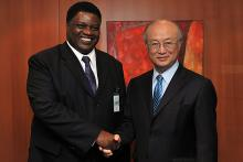 On 3 May 2011, Honourable Mr. Utoni Nujoma, Minister for Foreign Affairs of the Republic of Namibia, met IAEA Director General Yukiya Amano at the IAEA's headquarters in Vienna, Austria.