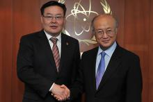 On 9 June 2011, H.E. Mr. Zandanshatar Gombojav, Minister for Foreign Affairs and Trade of Mongolia, met IAEA Director General Yukiya Amano at the IAEA's headquarters in Vienna, Austria.
