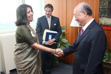 On 14 June 2011, H.E. Ms. Nirupama Rao, Foreign Secretary of India, met IAEA Director General Yukiya Amano at the IAEA headquarters in Vienna. The Foreign Secretary was accompanied by H.E. Mr. Dinkar Khullar, Ambassador and  Permanent Representative of India.