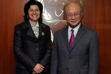 H.E. Mrs. Antonella Mularoni, Minister for Foreign Affairs of San Marino, met IAEA Director General Yukiya Amano at the Agency Headquarters in Vienna, Austria, 24 November 2011.