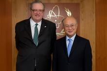 His most Eminent Highness the Prince and Grand Master of the Sovereign Military Order of Malta, Fra' Matthew Festing, with IAEA Director General Yukiya Amano, IAEA, Vienna, Austria, 28 February 2012