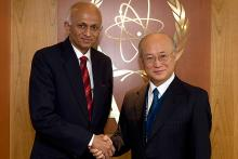 H.E. Mr. Ranjan Mathai, Foreign Secretary, Ministry of External Affairs of India, met IAEA Director General Yukiya Amano during the Foreign Secretary's visit to the IAEA Headquarters in Vienna, Austria, 2 March 2012.