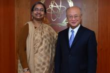 On 28 February 2013, the Honorable Foreign Minister of Bangladesh,  HE. Dr. Dipu Moni met IAEA Director General Yukiya Amano during the Minister's visit to the IAEA headquarters in Vienna, Austria.