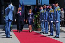 Departure of His Majesty King Letsie III of Lesotho and Her Majesty Queen Masenate Mohato Seeiso, after their meeting with IAEA Director General Yukiya Amano at the IAEA headquarters in Vienna, Austria. 25 April 2013