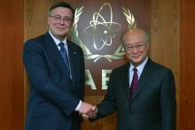 On 26 April 2013, HE Mr. Leonid Kozhara, Minister for Foreign Affairs of Ukraine met IAEA Director General Yukiya Amano during the Minister's visit to the IAEA headquarters in Vienna, Austria.