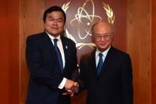 On 2 May 2013, H.E. Mr. Kazuyoshi Akaba, State Minister of Economy, Trade and Industry of Japan met IAEA Director General Yukiya Amano during the Minister's visit to the IAEA headquarters in Vienna, Austria.