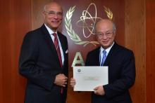 On 27 May 2013, H.E. Mr. Ramzy Ezzeldin Ramzy, new Head of Delegation, Permanent Observer of the League of Arab States, met IAEA Director General Yukiya Amano during his visit to the IAEA headquarters in Vienna, Austria.
