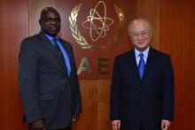 On 29 May 2013, H.E. Mr. Isak Katali, Minister of Mines and Energy of the Republic of Namibia, met IAEA Director General Yukiya Amano during his visit to the IAEA headquarters in Vienna, Austria.