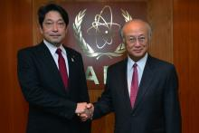 On 30 July 2013, H.E. Mr. Itsunori Onodera, Minister of Defense of Japan met IAEA Director General Yukiya Amano during the Minister's visit to the IAEA headquarters in Vienna, Austria.