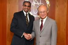 On 21 October 2013, H.E. Mr. Vanu Gopala Menon, Deputy Secretary, Southeast Asia and ASEAN in the Ministry of Foreign Affairs of Singapore met IAEA Director General Yukiya Amano during the Deputy Secretary's visit to the IAEA headquarters in Vienna, Austria.