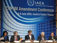 Opening of the Conference at the Austria Center in Vienna, Austria. Seated from the left are Ms. Maria de Lourdes Vez Carmona, Office of Legal Affairs (OLA); Mr. Johan Rautenbach, Director of OLA; David Waller, IAEA Deputy Director General and Head of the Department of Management; Mr. A. Baer, President of the Conference; and Mr. Wolfram Tonhauser, Legal Advisor, OLA.