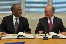 Signing of Additional Safeguards Protocol by Angola's Ambassador Fidelino Loy de Jesus Figueiredo and IAEA Director General Yukiya Amano, IAEA, Vienna, Austria, 28 April 2010.