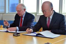 Signing of Additional Protocol for Greenland by Danish Ambassador HE Mr. Torben Brylle and IAEA Director General Yukiya Amano. IAEA, Vienna, Austria, 22 March 2013