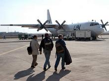 IAEA inspection staff at Saddam International Airport. Photo Credits: Pavlicek/IAEA