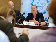 Ms. Anita Nilsson, Head of the Office of Nuclear Security, answering questions from the media at the Press Conference. (Credit: D. Calma/IAEA)
