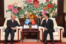 IAEA Director General Yukiya Amano met Chen Qiufa, Chairman of the China Atomic Energy Authority at the CAEA's headquarters, Beijing, China, 21 October 2011.