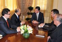 IAEA Director General Yukiya Amano met H.E. Mr. Bamir Topi, President of the Republic of Albania, 15 July 2011.