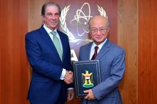 The Iraqi Ambassador Surood Rashid Najib submits an official letter from the Iraqi Foreign Minister Zebari to IAEA Director General Amano to announce the ratification and entry into force of the Additional Protocol to Iraqi comprehensive safeguards agreement. IAEA headquarters, Vienna, Austria, 23 October 2012.