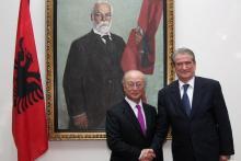 IAEA Director General Yukiya Amano with H.E. Mr. Sali Berisha, Prime Minister of the Republic of Albania. 14 July 2011