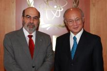 Mr. General Jose Graziano da Silva, FAO Director General, met IAEA Director General Yukiya Amano during his  visit to the IAEA Headquarters in Vienna, Austria, 15 August 2012.