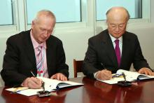 Signing of Additional Safeguards Protocol by Mr Artur Buzdugan, Director of the National Agency for Regulation of Nuclear and Radiological Activities of the Republic of Moldova and IAEA Director General Yukiya Amano, IAEA, Vienna, Austria, 14 December 2011.