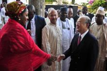 IAEA Director General Yukiya Amano is welcomed by the personal assistant to Nigeria's first Lady at the international cancer centre, Abuja. (Photo: A. Sotunde)