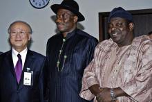 Vice-President, Goodluck Jonathan (middle), Minister of Science and Technology, Dr. Alhassan Zaku (right), and IAEA Director General Yukiya Amano during a courtesy call to the Vice-President in Abuja. (Photo: A. Sotunde)