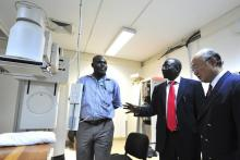 Abuja National hospital medical Director, Dr. Segun Ajuwon, conducts a tour for IAEA Director General Yukiya Amano around the hospital's medical equipment in Abuja. (Photo: A. Sotunde)